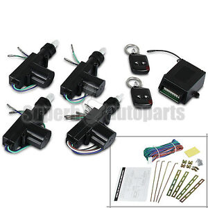 4 Door 12v Power Central Lock Kit 2 Keyless Entry Car Remote Control Conversion