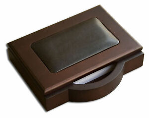 Dacasso 8000 Series Walnut And Leather 4 X 6 Memo Holder In Black