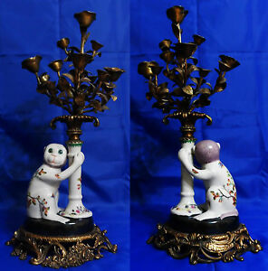 Atq Porcelain Monkey Bronze Figural Candelabra Bronze Base Leaves Flowers
