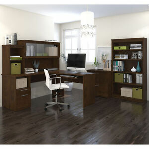 Sutton L shape Desk With Hutch Lateral File And 36 Commercial Bookcase