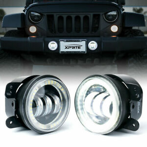 Xprite 4 inch 60w Cree Led Fog Light W Daytime Running Halo Ring For Jeep Jk jl