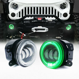 Xprite 4 Cree Led Fog Lights With Round Halo Angel Ring For Jeep Wrangler Green