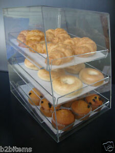 Ds acrylic Pastry Bakery Donut Cupcake Stand Display Case With 3 Trays