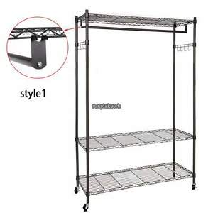 Black gray 3 Tier 74inch Wire Shelving Clothes Garment Rack Rolling Shelf Hook