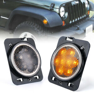 Front Fender Led Side Marker Lights Amber Smoke Lens For 07 18 Jeep Wrangler Jk