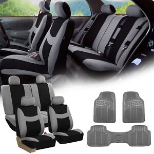 Gray Black Car Seat Covers Full Set For Auto W 4 Headrests Rubber Floor Mat