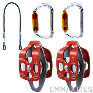 Tree Climbers Working Pulley System Prusik Carabiners Pulleys Kit Set Hauling
