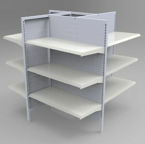Retail Gondola Fixture Shelving Four Way Display Merchandise Supermarket Fixture