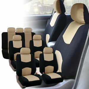 Car Seat Covers 3 Row For Auto Suv Van 7 Seaters Beige