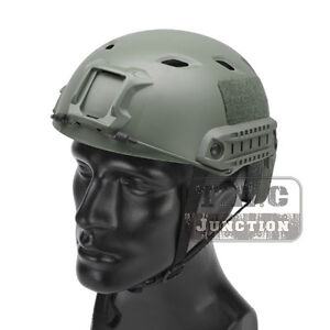 Emerson Tactical FAST Helmet BJ SWAT Base Wargame Airsoft Headgear w Side Rail