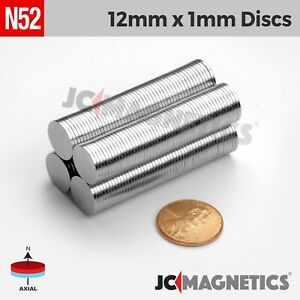 50 100pc 12mm X 1mm 1 2 x 1 32 N52 Strong Disc Rare Earth Neodymium Thin Magnet