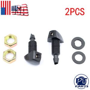 2pcs Plastic Universal Car Vehicle Front Windshield Wiper Washer Sprayer Nozzles