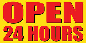 Open 24 Hours Sign Banner Auto Repair Ad 3 x6 Automotive Service Tire Store