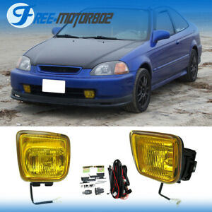For 1996 1998 1997 Honda Civic Yellow Bumper Fog Lights With Switch
