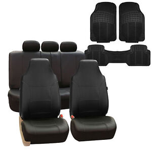 Highback Leather Car Seat Covers Full Set For Auto Black W Floor Mat