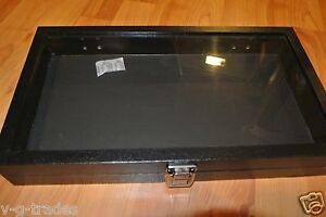 New Glass Top Black Jewelry Display Case 72 Slot Ring Tray Black Faux Leather
