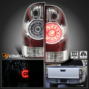 For 2005 2015 Toyota Tacoma Base X runner Red Clear Led Rear Tail Brake Lights