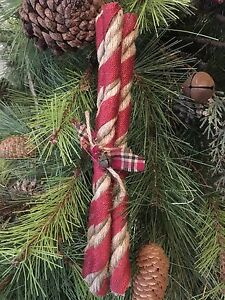 Primitive Christmas Peppermint Stick Candy Jute Burlap Rusty Wire Ornament New