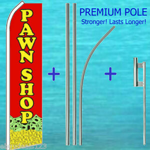 Pawn Shop Flutter Flag 15 Tall Premium Pole Mount Kit Feather Swooper Banner