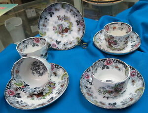 Rare 4 1850 Mulberry Flow Handless Cup Saucer Sets Phantasia J Furnival