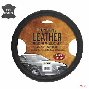 New Premium Genuine Leather Car Truck Black Steering Wheel Cover Large Size