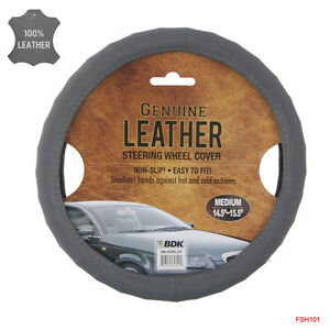 Brand New Gray Genuine Leather Car Truck Steering Wheel Cover Medium Size