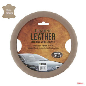 Brand New Genuine Beige Leather Car Steering Wheel Cover Small Size