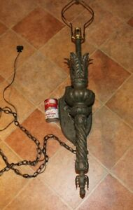 Vintage Medieval Gothic Torch Light Electric Wall Lamp Metal W Wood Base Large