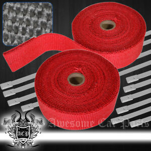 10m Header Exhaust Intake Manifold Downpipe Thermal Heat Wrap Protection Set Red