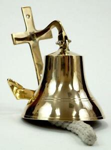 Nautical Marine Navigation 6 Solid Brass Ship Bell With Anchor Bracket New