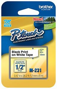 Genuine Brother M231 P touch Label Tape Mk 231s Mk231 1 2 Black On White
