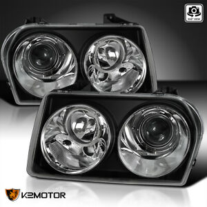 2005 2010 Chrysler 300 Touring Limited Replacement Projector Headlights Black