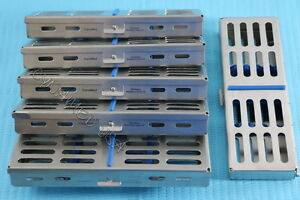 6 German Dental Autoclave Sterilization Cassette Rack Box Tray For 5 Instruments