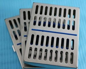 Set Of 3 Dental Autoclave Sterilization Cassette Rack Box Tray For 10 Instrument