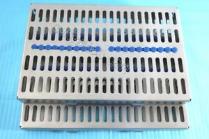German 2 Dental Autoclave Sterilization Cassette Rack Box Tray For 20 Instrument
