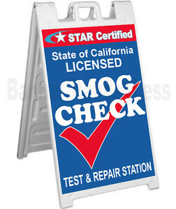 Signicade A frame Sidewalk Pavement Sign Star Certified Smog Check Test Repair