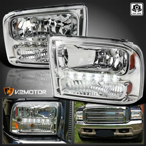 1999 2004 Ford F250 F350 Superduty Excursion 1pc Chrome Led Headlights