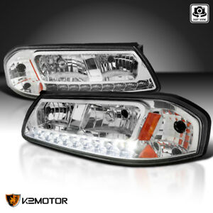 For 2000 2005 Chevy Impala Ls Ss Base Led Drl Clear Headlights Lamps Left right