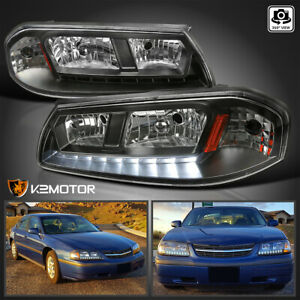 For 2000 2005 Chevy Impala Ls Ss Base Led Drl Headlights Lamps Black Left Right