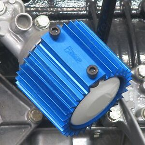 Bmw M10 Oil Filter Cooler Heat Sink Cover Blue
