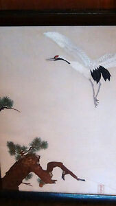 Antique 19 C Japanese Silk Embroidery Depicts A Crane Pine Tree Signed Framed