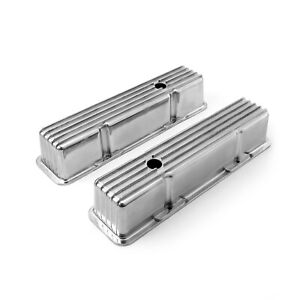 Fit Chevy Sbc 350 Nostalgic Finned Aluminum Valve Covers Tall W hole