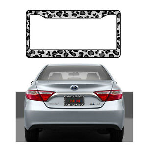 New Gray Snow Leopard Print Car Truck Suv Van License Plate Frame Made In Usa