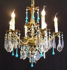 Elegant 6 Light Vintage Spanish Bronze Chandelier 18 X24 Turquoise Blue Crystal