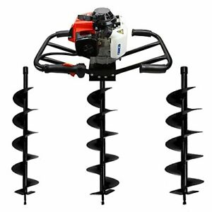 3hp 63cc Gas Earth 2man Post Digger Machine Hole Epa 183rpm auger 4 6 8 Bits