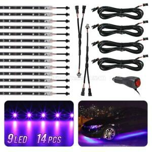 14pc Led Under Car Glow Underbody Shine Lights Bar Strip Kit Purple 9 3528 smd