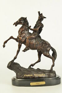 The Scalp Frederic Remington 10 Vintage Style Bronze Brown Patina W Marble Art