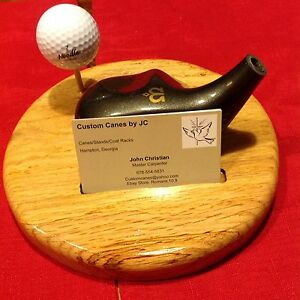 Solid Oak Desktop Golf Theme Business Card Stand 8