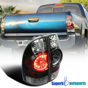 Fit 2005 2015 Toyota Tacoma Base X runner Black Led Tail Brake Lights Clear Lens