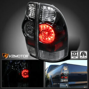 For 2005 2015 Toyota Tacoma Black Led Tail Lights Rear Brake Stop Lamps Assembly